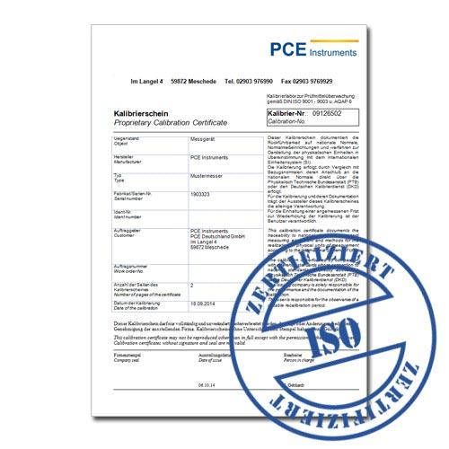 Certificato di taratura per lo strumento