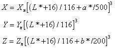 Calcolo del area cromatica  x y z.
