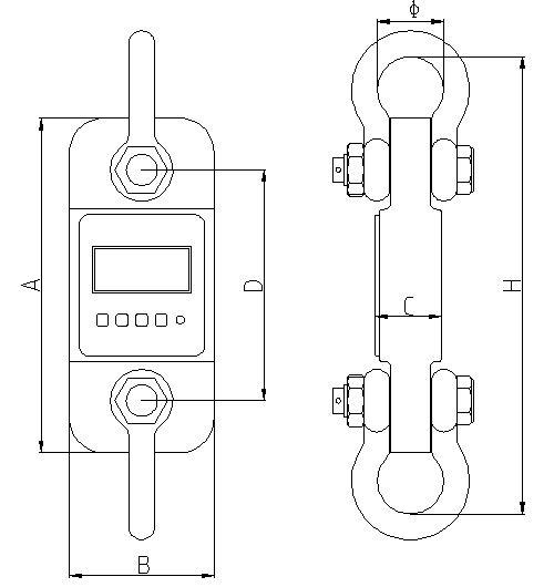 Dimensioni del dinamometro per trazione / trazione serie PCE-DDM