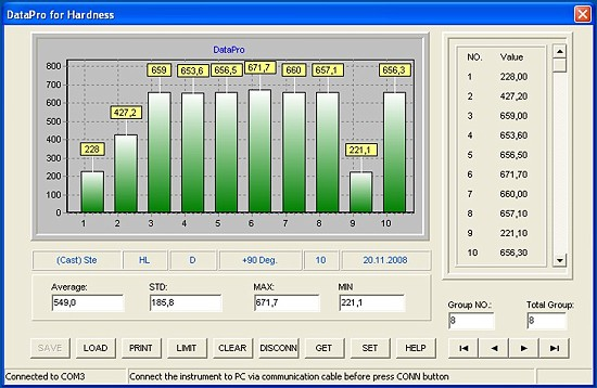 Software professionale Windows DataPro for Hardness