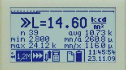 Display mentre si misura la densità luminosa, compresa l'indicazione della statistica