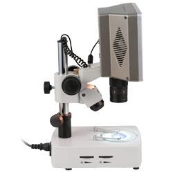 Vista laterale del microscopio