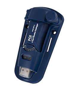 Qui può vedere il registratore di vibrazione PCE-VD 3 con il supporto per la parete robusto, semplice e magnetico
