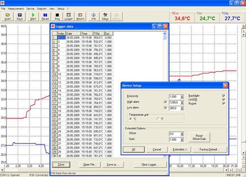 Software del termometro a infrarossi serie PCE-IR 1000