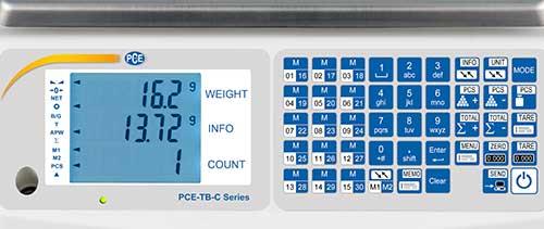 Display e tastiera della bilancia