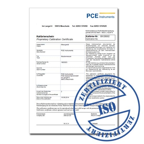 Certificato di taratura ISO per gli anemometri.